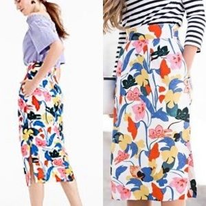 J. Crew Pintucked Midi Skirt in Morning Floral